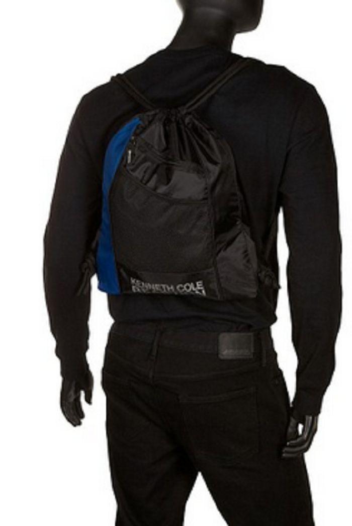 Kenneth Cole Reaction Drawstring Backpack, 5709807/Black/Blue