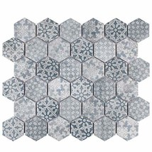 "SomerTile FTC2MDBL Medley Hex Porcelain Mosaic Floor and Wall, 11.125"" x 12.625"""