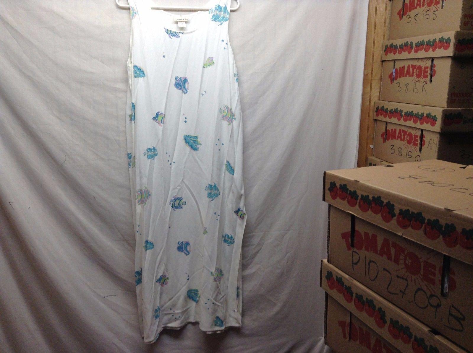 Connie Choi Long White Sun Dress w Pastel Fish Design Sz XL