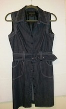 Sandra Darren Womens Blue Denim Dress Pockets Belted Size 10 Button Down... - $24.75