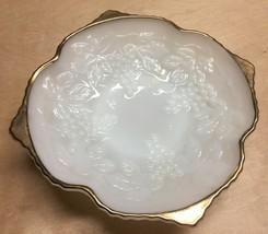 Vtg Anchor Hocking Fire King Milk Glass Fancy Grapes Motif Pedestal Dish Bowl - $15.50
