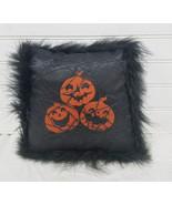 Halloween Decor  Black with Pumpkins & Marabou  Pillow  - $12.00