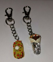 BFF Taco and Burrito Clay Charm Keychain Taco Fob Accessory Charms - $7.50
