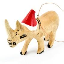 Hand Carved & Painted Jacaranda Wood Santa Hat Rhinoceros Christmas Ornament image 2