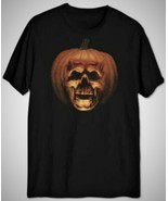 Halloween Ii Mens Black Orange Pumpkin T-shirt Crewneck Short Sleeve Tee... - $14.80