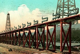 Vtg Postcard 1910 Bakersfield California - Loading Railroad Oil Tanker Cars - $3.95