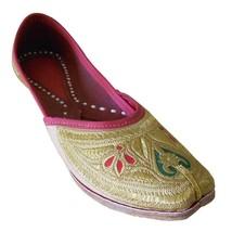 Women Shoes Indian Handmade Mojari Bride Leather Flip-Flops Gold Jutti U... - £24.51 GBP