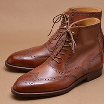 Handmade Men's Brown Wing Tip Heart Medallion High Ankle Lace Up Leather Boot image 1