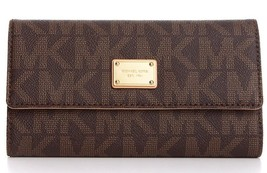 Michael Kors Checkbook Wallet MK Signature Logo Pen Carryall Coin Purse ... - $114.76