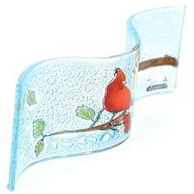 Fused Art Glass Cardinal Couple Birds Wavy Decor Sun Catcher Handmade Ecuador image 3