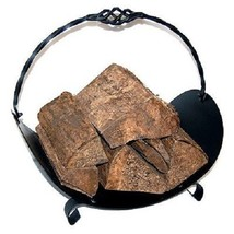 Metal Log Basket Firewood Holder Wood Storage Stove Fireplace Black Deco... - $39.82