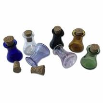 Mini Glass Flask Bottles Cork Stopper Cute Wishing Bottle Gift Tiny Jars... - $13.19