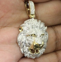 Lion Head Charm Pendant Round Cut 2CT Diamond 18k Yellow Gold Plated 925... - £123.04 GBP