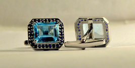 925 Sterling Silver Natural Fine Quality Blue Topaz And Blue Sapphire Gemstone A image 6