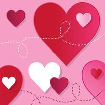 Hearts Swirls Valentines Day Party 16 Ct Beverage Cocktail Napkins - $3.69