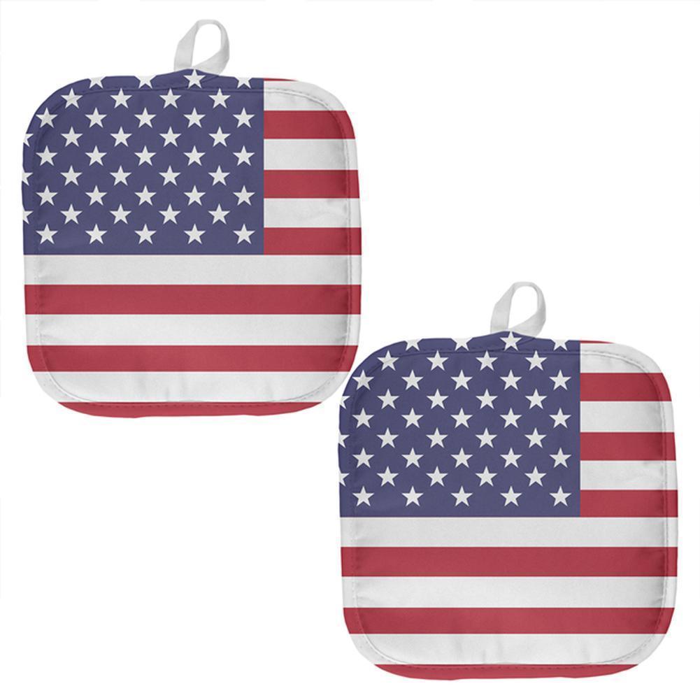 July 4th USA United States Flag All Over Pot Holder (Set of 2)