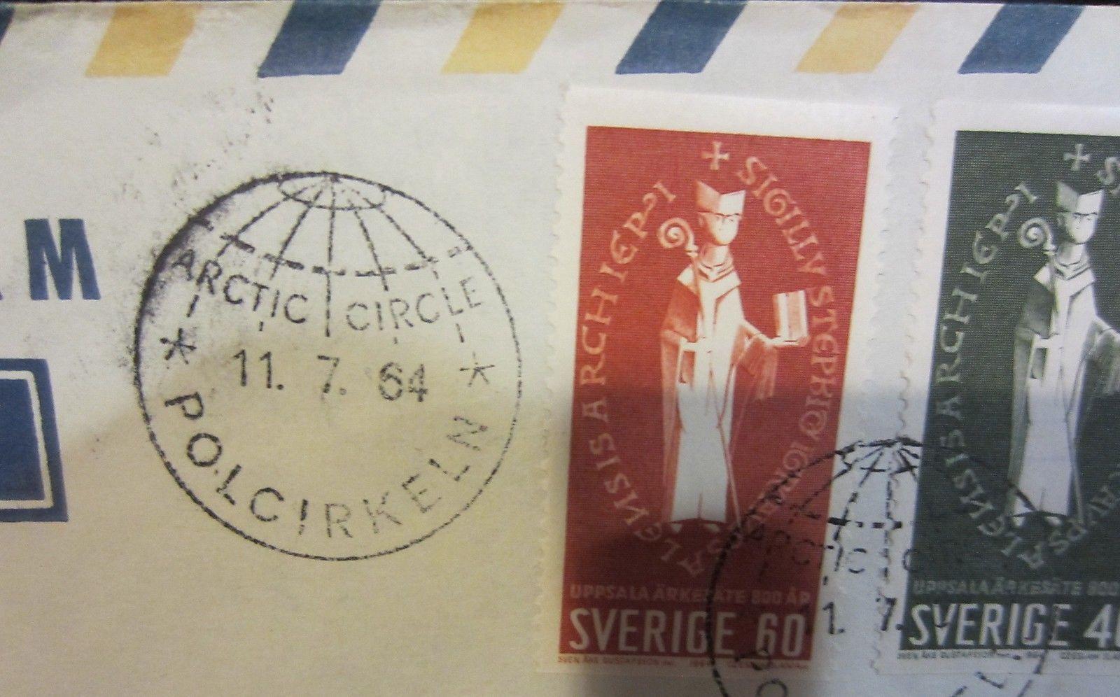 SWEDEN  ARCTIC CIRCLE CANCELLATION  POSTAGE / ENVELOPE  1964
