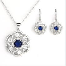 UNITED ELEGANCE Silver Tone Set With Faux Sapphire & Swarovski Style Crystals - $29.99