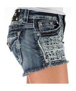 Miss Me Women's Aztec Signature Short Shorts Denim Jeans Med Blue Size 2... - $77.25