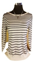 NWT ELLE Elegant Textured Knit Sweater - White w Black Stripes - XS - $24.97