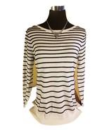 NWT ELLE Elegant Textured Knit Sweater - White w Black Stripes - XS - $34.97
