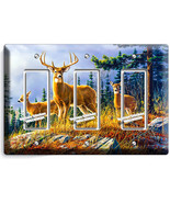 WHITETAIL DEER BUCK 3 GANG GFCI LIGHT SWITCH WALL PLATE HUNTING CABIN RO... - $16.19