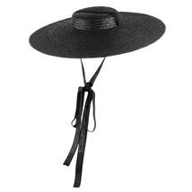 Color Wide Brim Flat Top Straw Hat Summer Hats Women Ribbon Beach Cap Bo... - $24.90