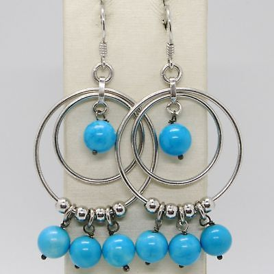 EARRINGS SILVER 925 TRIED AND TESTED WITH GIADA BLUE ROUND AND WHEELS SILVER