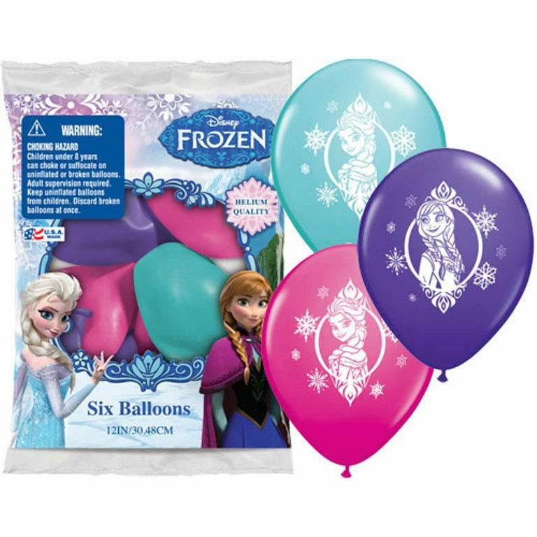 """Disney Frozen Printed Latex Balloons Pack Birthday Party 6 (six) 12"""" Asst Round"""