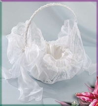 Flower Girl Basket 0053 (White or Ivory) by Elegance by Carbonneau - $23.99