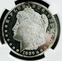 1886 MS62  DMPL/ DPL MORGAN SILVER DOLLAR/ ULTIMATE WOW CAMEO B&W . 003 - $230.30