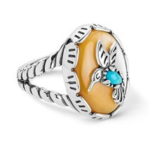 American West Sterling Silver Mother of Pearl and Turquoise Gemstone Hum... - $98.00