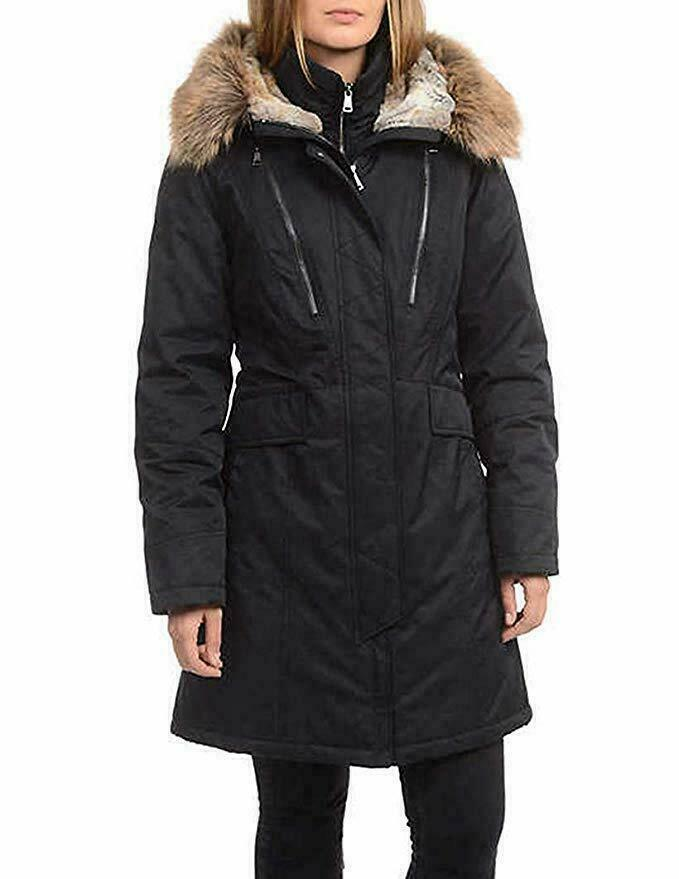 1 Madison Expedition Parka Coat Womens Black Anorak Faux Fur Hood L XL