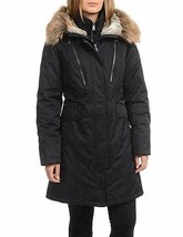 1 Madison Expedition Parka Coat Womens Black Anorak Faux Fur Hood L XL image 1