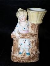 Antique Girl Basket Bisque Porcelain Figurine Toothpick Match Holder Ger... - $11.50