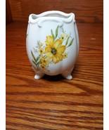 Vintage Lefton Porcelain China E 5119 Footed Egg Vase Hand Painted - $7.38