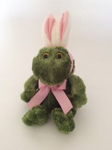 "ANIMAL ADVENTURE green pink white FROG W/ BUNNY EARS 9"" Easter plush - $9.49"