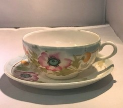 Vintage Hand Painted Bone China Cup Saucer Made in Japan Floral Pastel - $8.91