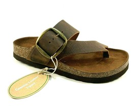 White Mountain Harley Brown Leather Footbed Slip On Sandal - $39.20