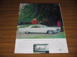 1964 Print Ad Cadillac Sedan deVille 4-Door White Girl on Swing - $13.96
