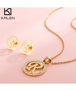 Kalen New Cheap Capital Letter Jewelry Set Women Rhinestone & Stainless ... - $25.57