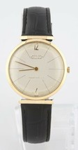 Vintage 14k Yellow Gold Men's Moviga Hand-Winding Watch w/ Leather Strap - $1,859.21
