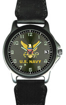 MENS WATCH LEATHER NYLON BAND U.S. NAVY EAGLE LOGO - $34.60
