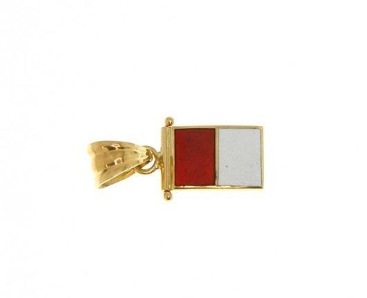 18K YELLOW GOLD NAUTICAL GLAZED FLAG LETTER H PENDANT CHARM MEDAL MADE IN ITALY