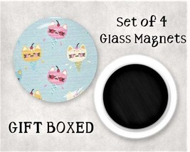 Cats Large Glass Gem Magnet Set - Kitchen / Office / Locker / Fridge Mag... - $7.95