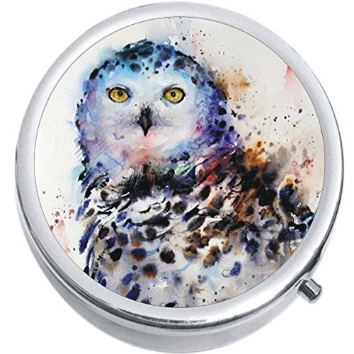 Primary image for Watercolor Owl Medicine Vitamin Compact Pill Box