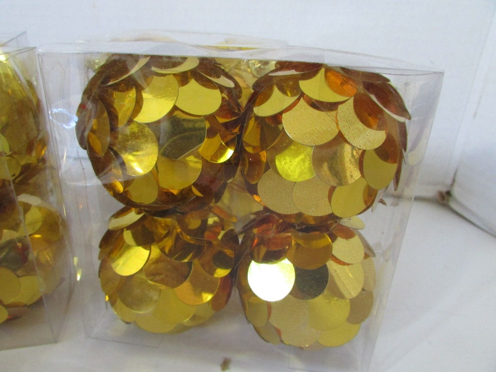 "5 BOXES OF 4 EACH GOLD SEQUINS CHRISTMAS TREE BALL ORNAMENTS NIB 3"" UNBREAKABLE"