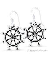 Helm Ship's Wheel Nautical Charm Dangling Hook Earrings in .925 Sterling... - $26.39