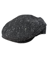 John Hanly Flat Irish Hat Men's 100% Wool Charcoal Fleck Made in Ireland XL - $80.47