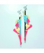 E0142 Multi Color Acrylic Bar Strip Lady Design Long Drop Dangle Post Ea... - $8.49